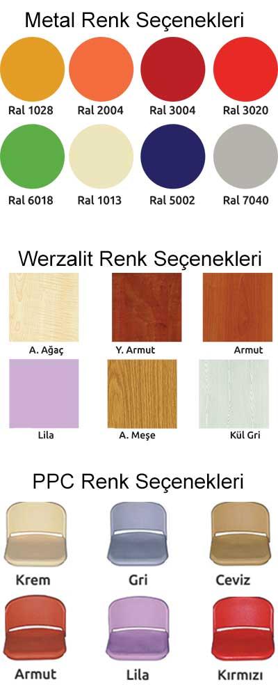 metal renk seçenekleri, werzalt renk seçenekleri, ppc renk seçenekleri